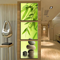 moderne lackierrahmen großhandel-Leinwand Kunstdruck Moderne Rahmen 3 Panel Grün Bambus Abstrakte Malerei Wandbilder Für Wohnzimmer Dekor HD Poster Malerei