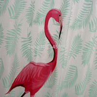 ingrosso docce rosse docce-Animali in plastica Fenicottero rosso Foglie verdi Tenda da doccia impermeabile addensare Tende da doccia glassate da bagno 180x180 cm 180x200 cm