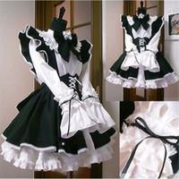 ingrosso cosplay bianca nera bianca-Maid Dress Cosplay sprouting giorno animazione mondo caffetteria Cafe vestito, abito lungo, costume da cameriera in bianco e nero