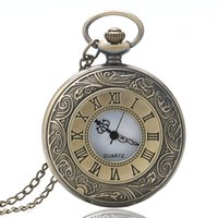 Wholesale Vintage Watch Fob Chain - High Quality Vintage Steampunk Hollow Carving Rome Number White Dial Quartz Copper Fob Watch with Slim Chain Children Gift Men Women