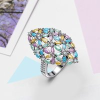 Wholesale horse rings resale online - 2019 new ring Pastel color Horse eye blue yellow green pink crystals Bohemia statement jewelry Luxury Accessories Fashion rings