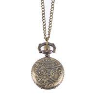 montres couleur cool achat en gros de-Montre de poche Vintage Bronze Couleur Quartz Montre Cool Chain Hollow Vine Watches @ 88