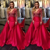 Wholesale turkey lighting - 2018 Red Evening Dresses with detachable train Turkey Lace Long Sleeve Satin Mermaid Overskirts Prom Gowns V Neck formal Party Dress