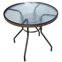 "Wholesale Wicker Rattan Outdoor - 1 2"" Patio Rattan Round Table Tempered Glass Furniture Outdoor Coffee Dining"