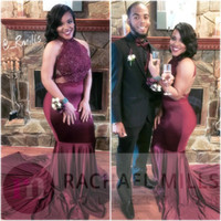 Wholesale Crystal Deco - Real Photo Burgundy African Prom Dresses Lace Mermaid 2018 Sexy Backless Evening Gowns African 2K17 Girls Party Gowns