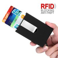 Wholesale money business cards - Blocking RFID Automatic Pop-up Wallet Money Clip Mens PU Leather Slim Waterproof Business Money Credit Card ID Holder
