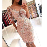 sexy long sleeved backless red dress 2018 - Bodice Knee Length Cocktail Dresses 2018 New Design See Through Half Sleeved Backless Applique Lace Short Prom Gowns BA9826