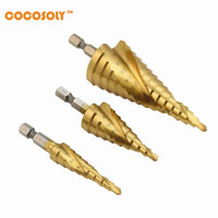Wholesale core speed for sale - Group buy Price New set mm HSS Steel Step Cone Drill Titanium Bit Set Hole Cutter Tools Hexagonal Shank