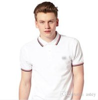 Wholesale blue polo dress - 2018 Sales Famous Business men shorts sleeve Polo shirts Popular Cotton embroidery Wheat Polos Custom Designer made Fred Dress shirts