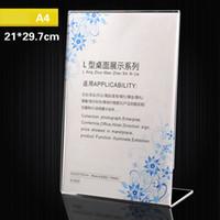 acryl display zeichenhalter großhandel-21 * 29,7 cm Acryl Schildhalter Ad Frame Vertikale Display Tisch Kartenhalter Klares Zeichen Display Halter Werbung Display Ausrüstung AAA150