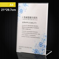 Wholesale advertising cards - 21*29.7cm Acrylic Sign Holder Ad Frame Vertical Display Table Card Racks Clear Sign Display Holder Advertising Display Equipment AAA150