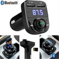 Wholesale two usb port car charger - HY-82 3.1A Dual USB Port Handsfree Car Charger & Car MP3 Player Bluetooth FM Transmitter With LED Screen Support SD Card U Disk