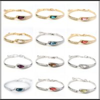 Wholesale silver bracelets online - New Colors Swarovski Amethyst Crystal Bracelets Designer Bracelet Stainless Steel Jewelry Bangles Luxury Jewelry Chain Christmas Gifts