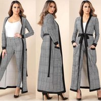 Wholesale houndstooth coat xl - New 2018 Spring Summer Fashion Women's Coat Pants Suits Houndstooth Three Pieces Set Casual Clothes vesdios