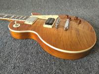 natürliche mahagoni e-gitarre großhandel-Custom Shop 1959 Jimmy Page Flame Ahorn Top Amber Sunburst E-Gitarre Mahagoni Körper Natürliche Farbe Rückseite, Tune O Matic Bridge