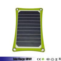 externe batterieladegerät solarzelle großhandel-6W 6V 2.0USB Solar Power Panel Externe Backup-Ladegerät Outdoor Telefone Solarzellen Ladegerät