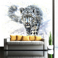 Wholesale Modern Art Nature Painting - Customized Mural Wallpaper 3D Non-woven Modern Fashion Leopard Living Room TV Background Painting Art Wall Home Decorative