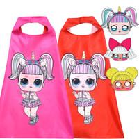 Wholesale doll mask cosplay resale online - 2018 New Kid s Cloak Sets Cosplay Doll Cartoon Girl Cloak Mask Children s Halloween Costume for Kids set