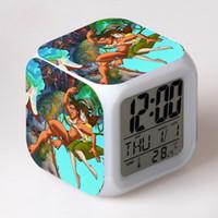 символьные часы оптовых-Movie Character LED Clocks Watch Tarzan LED Digital Alarm Clocks 7 Color Flash night light reloj despertador infantil Dropship