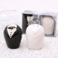Wholesale Cruet Sets - 2pcs set Bride Groom Salt Pepper Shaker Pots Cruet Caster Kitchen Tools for Wedding Favor Gift