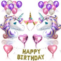 Wholesale foil banner - 1 set Unicorn Party Supplies Set With Glitter Unicorn Headband for Kids Birthday Decorations Happy Birthday Banner Latex & Foil Balloons