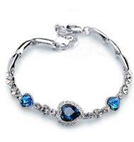 kristall herz armband großhandel-1 pc heißer sellingNew Mode Frauen neues Mädchen Ocean Blue Crystal Strass Herz Armreif Geschenk
