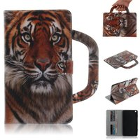 Wholesale mediapad lite resale online - Tablet Case For Huawei MediaPad M3 Lite inch Handle Flip Cover Stand Leather Wallet Coloured drawing Tiger Lion wolf Coque