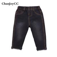 jeans de qualidade meninos venda por atacado-Venda quente das Crianças Jeans de Alta Qualidade Nova Moda Bebê Meninos E Meninas Sólidos Respirável Cotton100% Sólida Lazer Macio Pant