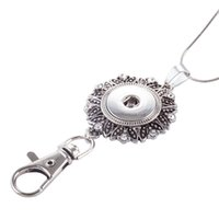 Wholesale Jewelry Hanging Rope - Round Noosa Crystal Keychain Jewelry Chunks Snap Button DIY Keyring Necklace Work Badge Hanging Rope Pendant 2 8ws Y