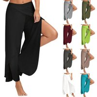 Wholesale wide leg dance pants - Yoga Wide Leg Pants Gym Sport Fitness Pants Side Slit Casual Trousers Summer Loose Bloomers High Waist Dance Pants OOA4042
