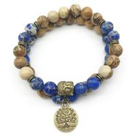 ensembles de bracelet en pierre bleue achat en gros de-SN1281 À la mode Designer Bouddha Tête Bracelet Ensemble Image Jasper Bleu Foncé Regalite Bracelet Arbre de Vie Bijoux En Pierre Naturelle