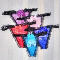 bragas hebillas al por mayor-Tanga de encaje floral transparente para Sissy Mens con hebilla de metal T Back G strings Gay Bragas masculinas Ropa interior Bikini Funny Undies