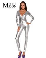 kadın kedi tulum kıyafeti toptan satış-MOONIGHT Kadınlar Sahte Deri Catsuit Clubwear DS Kedi Kadın Uzun Kollu Fantezi Kostüm Seksi Jumpsuit