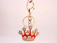 königin party liefert großhandel-Entzückende glänzende Königin-Krone Keychains - Kristallblingbling-Schlüsselketten-Halter-Ring Keychain - Geldbeutel-hängende Handtaschen-Charme-Frauen-Mädchen-Geschenk