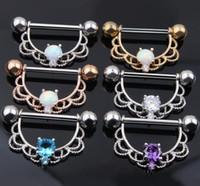 Wholesale Nipple Piercing Shield - New Product Opal Stone Nipple Barbell Piercing Ring Zircon Nipple Shield Jewelry Bar Body Piercing Jewelry