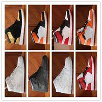 Wholesale orange canvas belt - new designer belts High Quality 1 OG Chicago Gold Top 3 Royal Bred Basketball Shoes Men vapormax 1s Hare Game Royal UNC Sneakers