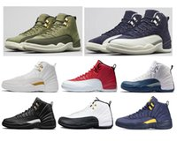 chris paul zapatos cp3 al por mayor-2018 New 12 12s Graduation Pack Chris Paul Clase de lona de oliva 2003 Zapatos de baloncesto Hombres CP3 Michigan Taxi Flu Game UNC Sneakers