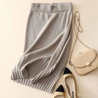roupas de caxemira para mulheres venda por atacado-Mulheres saias 100% pura caxemira casual inverno quente roupas quentes