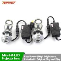 h4 dönüştürme kitleri toptan satış-Süper Parlak H4 LED Ampuller Ile Dönüşüm Kiti Far Mini Projektör Lens Için Araba SUV OTOBÜS 12 V / 24 V