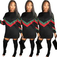 robe de nuit conçoit les femmes achat en gros de-2018 Automne Hiver À Manches Longues Robe À Rayures Imprimer Long Hoodies Dress Casual Lâche Tops Noir Couleur Zipper Design Femmes Night Club Bodycon