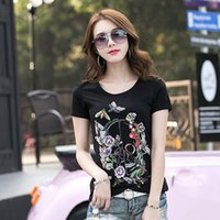 Wholesale Create Shirt - 2018 new women's T-shirt Flower butterfly Skull Diamond Created fashion Rhinestone round neck short sleeve T-shirt Bling tshirt