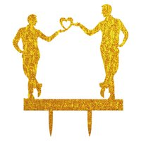 Wholesale wedding topper silhouette - Acrylic Gay Wedding Cake Topper Same Sex MR and MR Wedding Silhouette Party Decoration
