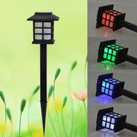 Wholesale small plugging lamp - Lawn Lamp Solar Energy LED Lanterns Plugged Light Court Garden Decorative Small House Type RGB Colourful 6 5wn Y