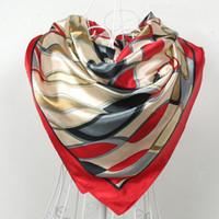 фирменные шарфы фарфор оптовых-Красный шелковый шарф 2015 женщин шарф, Китай стиль Атлас большой квадратный шарф печатных, женская Марка район шелковый шарф, мода шаль 90*90 см
