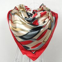 Wholesale branded scarves china resale online - Red Silk Scarf Women Scarf China Style Satin Big Square Scarf Printed Ladies Brand Rayon Silk Scarf Fashion shawl cm
