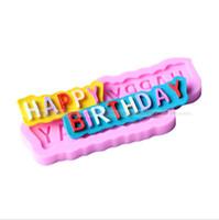 feliz aniversário molde venda por atacado-Chegada nova diy molde de cozimento carta feliz aniversário molde do bolo resuable moldes de silicone resistente ao calor prático 1 5dy b