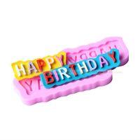 feliz cumpleaños molde de pastel de silicona al por mayor-Nueva Llegada DIY Molde Para Hornear Carta Feliz Cumpleaños Molde de La Torta Resuable Resistente Al Calor Moldes de Silicona Práctico 1 5dy B