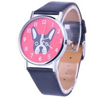 печатные браслеты оптовых-xiniu 2018 повседневная одежда часы женщины девушки PU Кожаный ремешок мультфильм собака печати Кварцевые наручные часы лучшие подарки