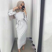 d356feb5bb20 Abito islamico a Dubai in cotone a righe con motivo islamico per le donne  Abbigliamento islamico con maniche lunghe a maniche lunghe e abito da sera  arabo ...