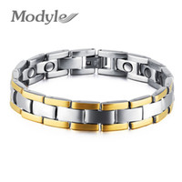 Wholesale bracelet energy cuff - whole saleModyle Drop Shipping Mens Bio Energy Magnetic Theraphy Bracelet Stainless Steel Chain Link Adjustable Length
